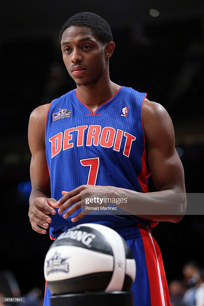 Brandon Knight of the Detroit Pistons competes during the Taco Bell Skills Challenge part of 2013 NBA All-Star Weekend at the Toyota Center on February 16, 2013 in Houston, Texas.