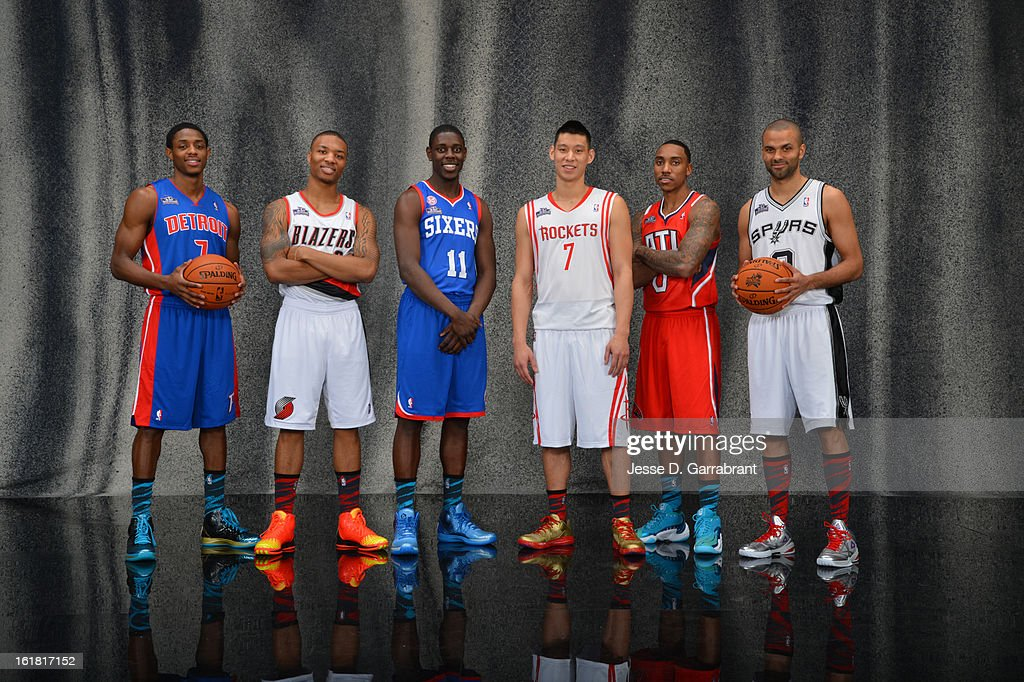 Brandon Knight #7 of the Detroit Pistons, Damian Lillard #0 of the Portland Trail Blazers, Jrue Holiday #11 of the Philadelphia, Jeremy Lin #7 of the Houston Rockets, Jeff Teague #0 of the Atlanta Hawks and Tony Parker #9 of the San Antonio Spurs of the 2013 Taco Bell Skills Challenge poses for a portrait during State Farm All-Star Saturday Night as part of 2013 NBA All-Star Weekends at Toyota Center on February 16, 2013 in Houston, Texas.