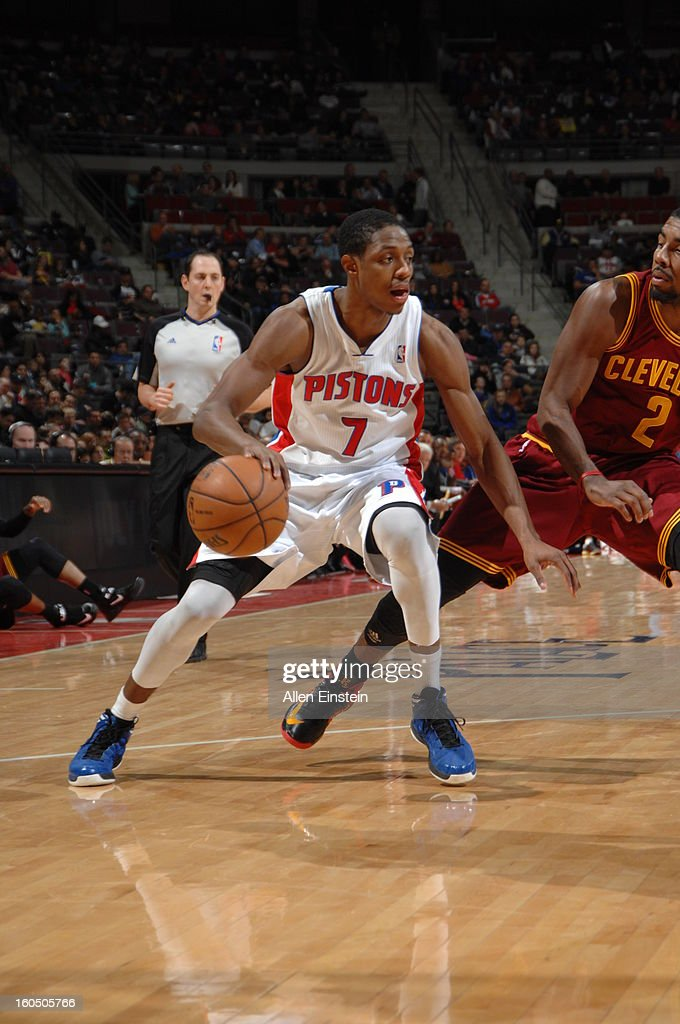 Brandon Knight #7 of the Detroit Pistons drives against the Cleveland Cavaliers on February 1, 2013 at The Palace of Auburn Hills in Auburn Hills, Michigan.