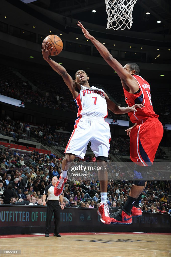 Brandon Knight #7 of the Detroit Pistons drives to the basket against the Atlanta Hawks on January 4, 2013 at The Palace of Auburn Hills in Auburn Hills, Michigan.