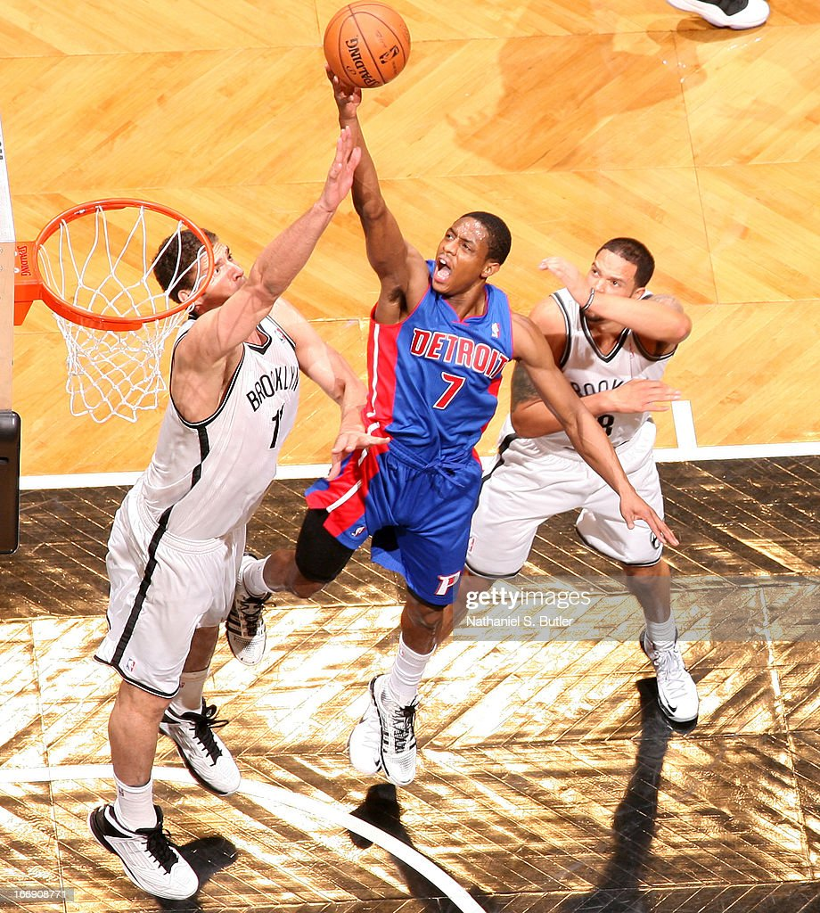 Brandon Knight #7 of the Detroit Pistons drives to the basket against the Brooklyn Nets on April 17, 2013 at the Barclays Center in the Brooklyn borough of New York City.