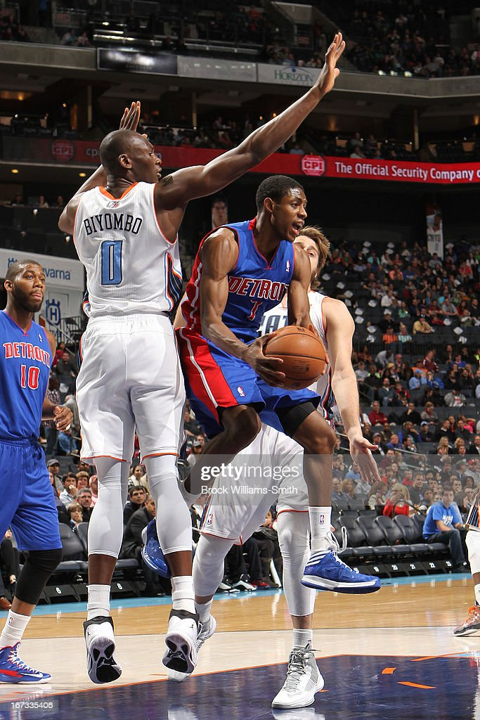 Brandon Knight #7 of the Detroit Pistons drives to the basket against the Charlotte Bobcats at the Time Warner Cable Arena on March 23, 2013 in Charlotte, North Carolina.