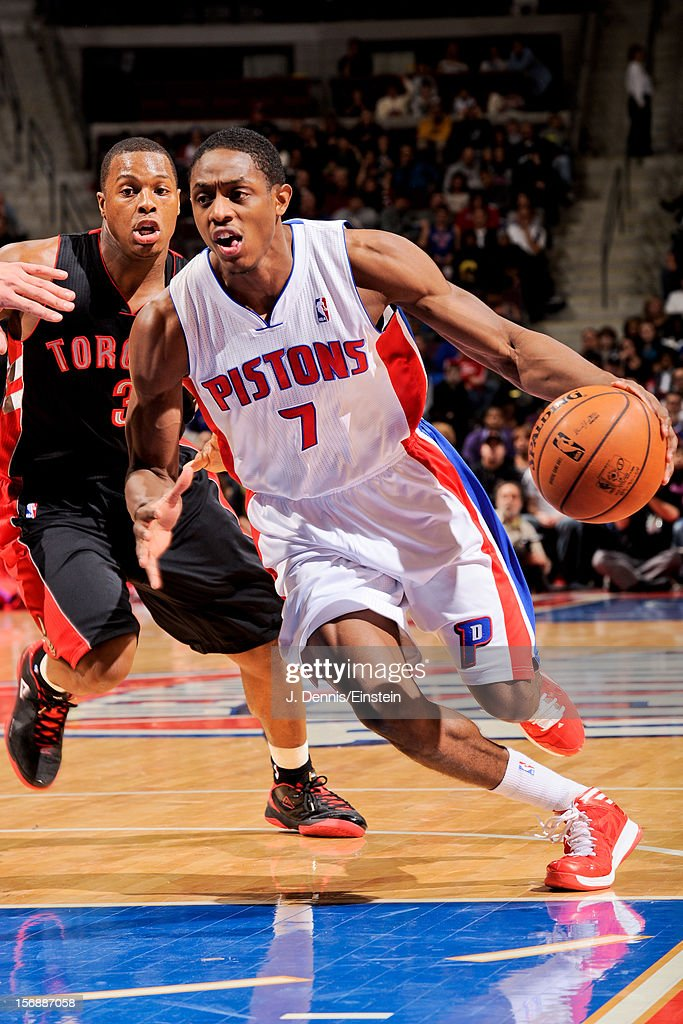 Brandon Knight #7 of the Detroit Pistons drives to the basket ahead of <a gi-track='captionPersonalityLinkClicked' href=/galleries/search?phrase=Kyle+Lowry&family=editorial&specificpeople=714625 ng-click='$event.stopPropagation()'>Kyle Lowry</a> #3 of the Toronto Raptors on November 23, 2012 at The Palace of Auburn Hills in Auburn Hills, Michigan.