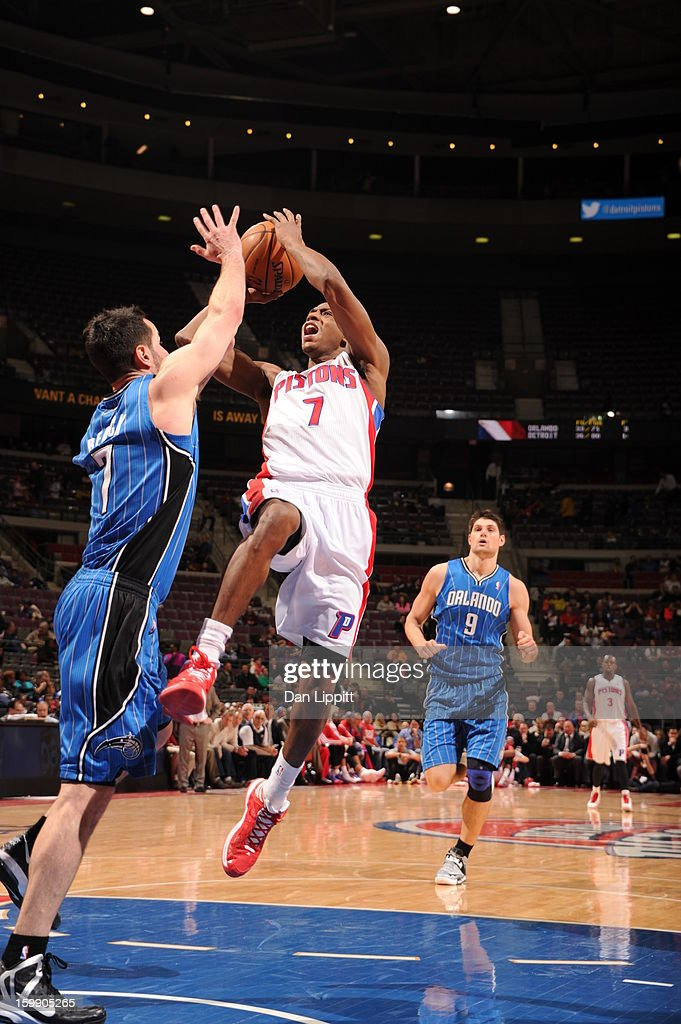 Brandon Knight #7 of the Detroit Pistons goes to the basket against <a gi-track='captionPersonalityLinkClicked' href=/galleries/search?phrase=J.J.+Redick&family=editorial&specificpeople=211608 ng-click='$event.stopPropagation()'>J.J. Redick</a> #7 of the Orlando Magic on January 22, 2013 at The Palace of Auburn Hills in Auburn Hills, Michigan.