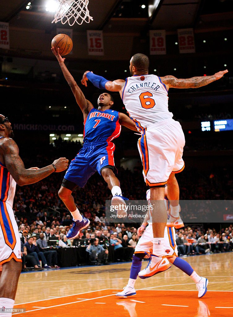 Brandon Knight #7 of the Detroit Pistons goes to the basket against <a gi-track='captionPersonalityLinkClicked' href=/galleries/search?phrase=Tyson+Chandler&family=editorial&specificpeople=202061 ng-click='$event.stopPropagation()'>Tyson Chandler</a> #6 of the New York Knicks on March 24, 2012 at Madison Square Garden in New York City.