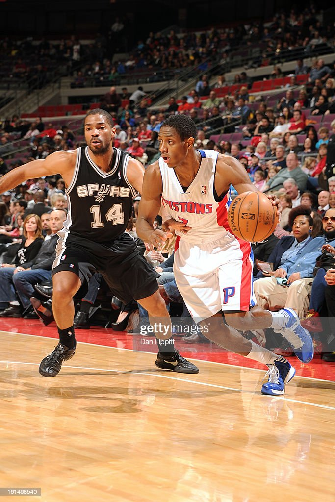 Brandon Knight #7 of the Detroit Pistons handles the ball against <a gi-track='captionPersonalityLinkClicked' href=/galleries/search?phrase=Gary+Neal&family=editorial&specificpeople=5085165 ng-click='$event.stopPropagation()'>Gary Neal</a> #14 of the San Antonio Spurs on February 8, 2013 at The Palace of Auburn Hills in Auburn Hills, Michigan.