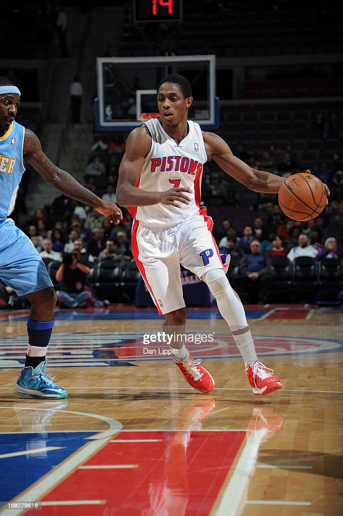 Brandon Knight #7 of the Detroit Pistons handles the ball against the Denver Nuggets on December 11, 2012 at The Palace of Auburn Hills in Auburn Hills, Michigan.