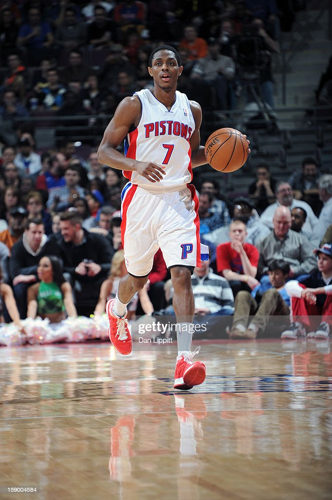 Brandon Knight #7 of the Detroit Pistons handles the ball against the Atlanta Hawks on January 4, 2013 at The Palace of Auburn Hills in Auburn Hills, Michigan.