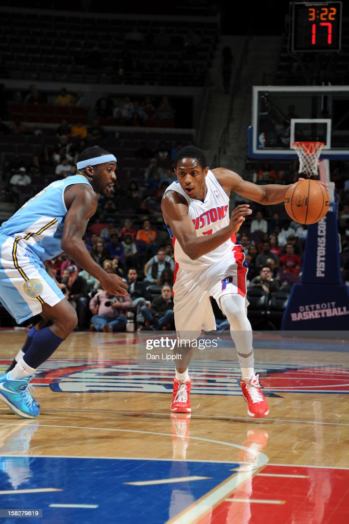 Brandon Knight #7 of the Detroit Pistons handles the ball against <a gi-track='captionPersonalityLinkClicked' href=/galleries/search?phrase=Ty+Lawson&family=editorial&specificpeople=4024882 ng-click='$event.stopPropagation()'>Ty Lawson</a> #3 of the Denver Nuggets on December 11, 2012 at The Palace of Auburn Hills in Auburn Hills, Michigan.