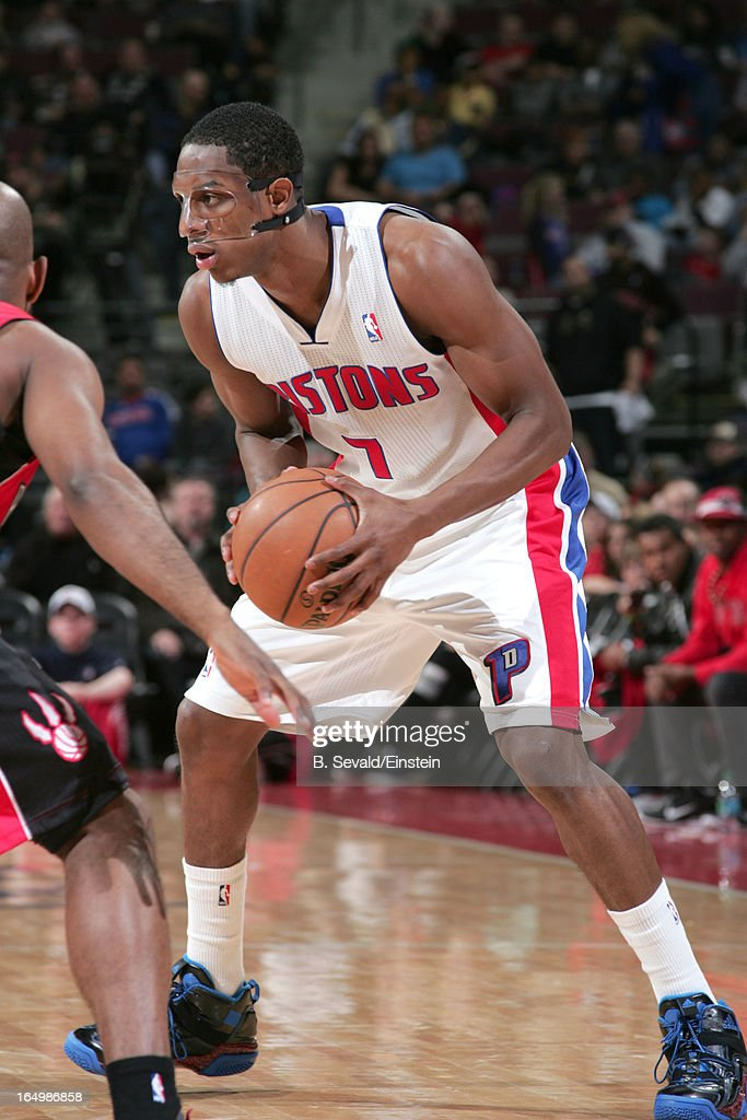 Brandon Knight #7 of the Detroit Pistons handles the ball during the game between the Detroit Pistons and the Toronto Raptors on March 29, 2013 at The Palace of Auburn Hills in Auburn Hills, Michigan.