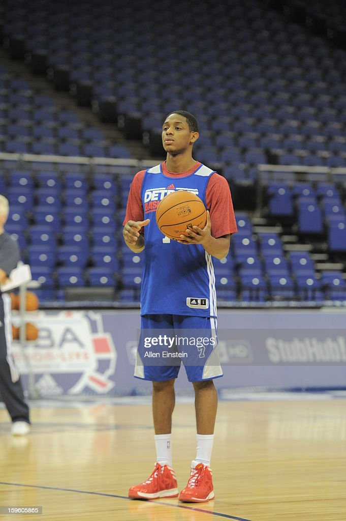 Brandon Knight #7 of the Detroit Pistons looks on during practice at the O2 Arena as part of London Live 2013 on January 16, 2013 in London, England.