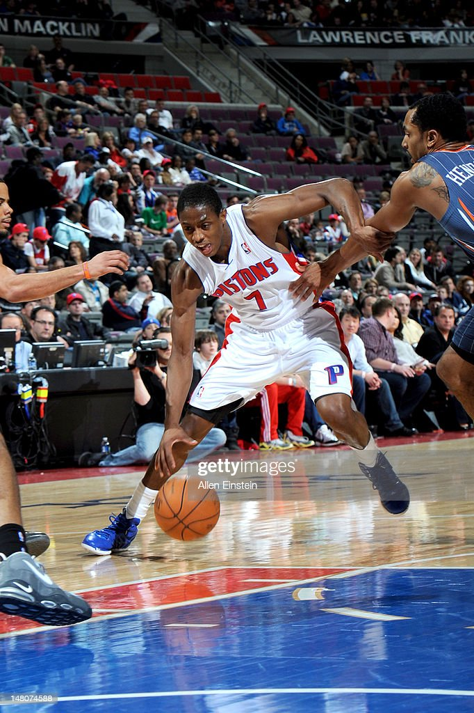 Brandon Knight #7 of the Detroit Pistons moves the ball against the Charlotte Bobcats during the game on March 31, 2012 at The Palace of Auburn Hills in Auburn Hills, Michigan.
