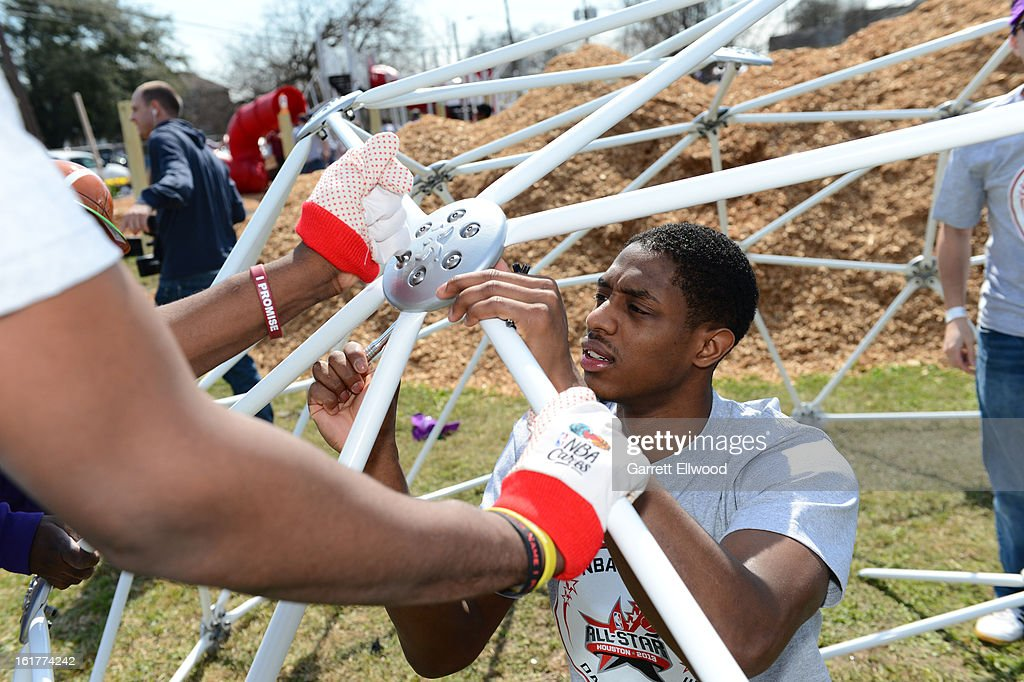 Brandon Knight #7 of the Detroit Pistons participates at the 2013 NBA Cares Day of Service at the Playground Build with KaBOOM! on February 15, 2013 in Houston, Texas.