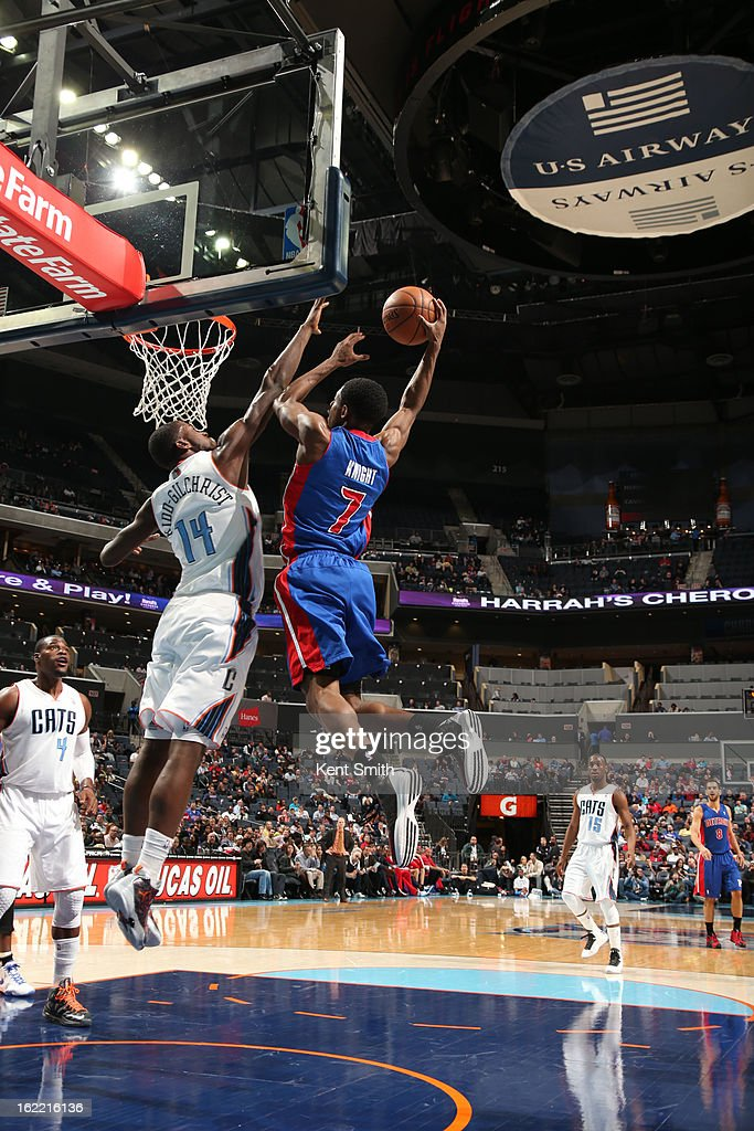 Brandon Knight #7 of the Detroit Pistons rises for a dunk against <a gi-track='captionPersonalityLinkClicked' href=/galleries/search?phrase=Michael+Kidd-Gilchrist&family=editorial&specificpeople=8526214 ng-click='$event.stopPropagation()'>Michael Kidd-Gilchrist</a> #14 of the Charlotte Bobcats at the Time Warner Cable Arena on February 20, 2013 in Charlotte, North Carolina.