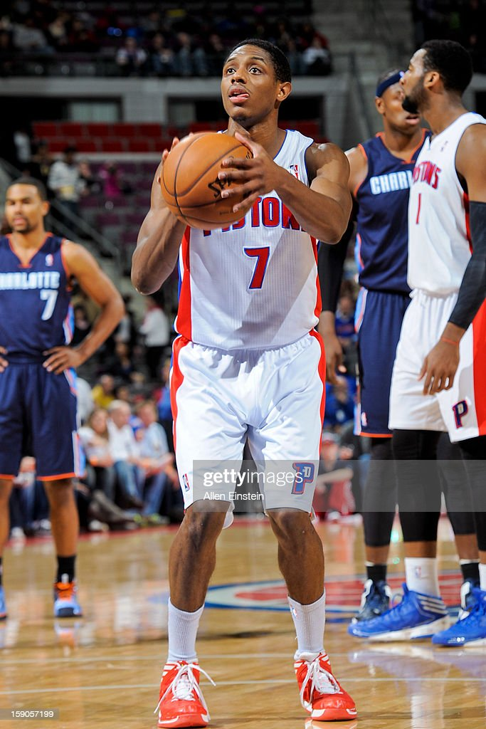 Brandon Knight #7 of the Detroit Pistons shoots a free-throw against the Charlotte Bobcats on January 6, 2013 at The Palace of Auburn Hills in Auburn Hills, Michigan.