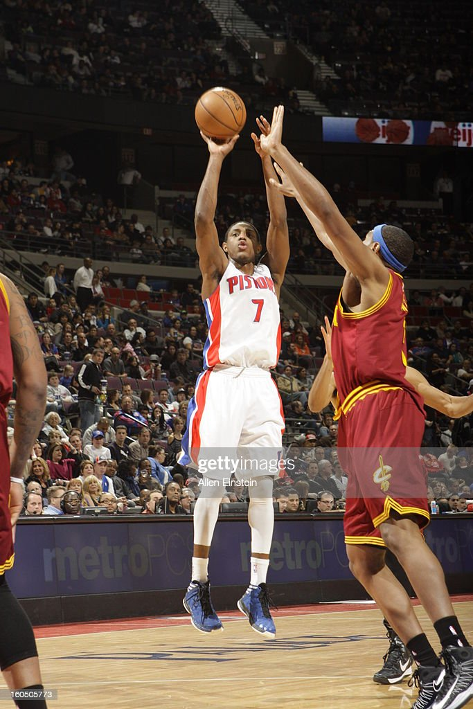 Brandon Knight #7 of the Detroit Pistons shoots a jumper against the Cleveland Cavaliers on February 1, 2013 at The Palace of Auburn Hills in Auburn Hills, Michigan.