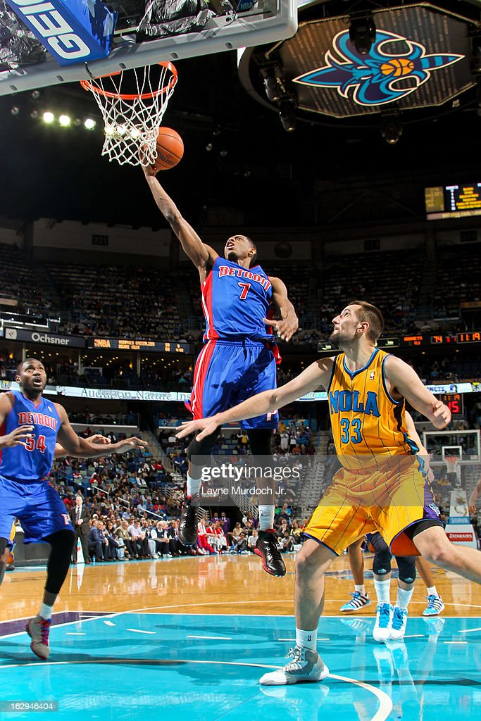 Brandon Knight #7 of the Detroit Pistons shoots a layup against Ryan Anderson #33 of the New Orleans Hornets on March 1, 2013 at the New Orleans Arena in New Orleans, Louisiana.