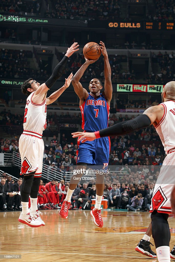 Brandon Knight #7 of the Detroit Pistons shoots against Kirk Hinrich #12 of the Chicago Bulls on January 23, 2012 at the United Center in Chicago, Illinois.