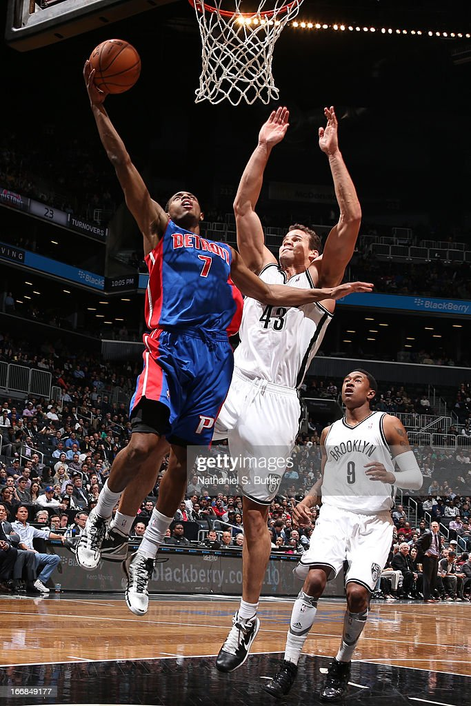 Brandon Knight #7 of the Detroit Pistons shoots against Kris Humphries #43 of the Brooklyn Nets on April 17, 2013 at the Barclays Center in the Brooklyn borough of New York City.