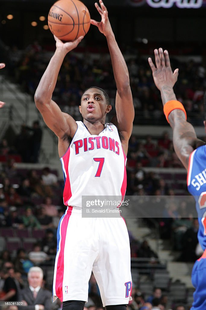 Brandon Knight #7 of the Detroit Pistons shoots the ball during the game between the Detroit Pistons and the Atlanta Hawks on March 6, 2013 at The Palace of Auburn Hills in Auburn Hills, Michigan.