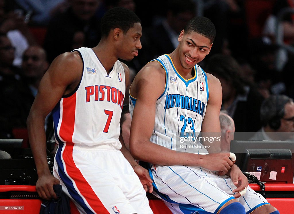 Brandon Knight #3 of the Detroit Pistons talks with Anthony Davis #23 of the New Orleans Hornets in the first half in the BBVA Rising Stars Challenge 2013 part of the 2013 NBA All-Star Weekend at the Toyota Center on February 15, 2013 in Houston, Texas.