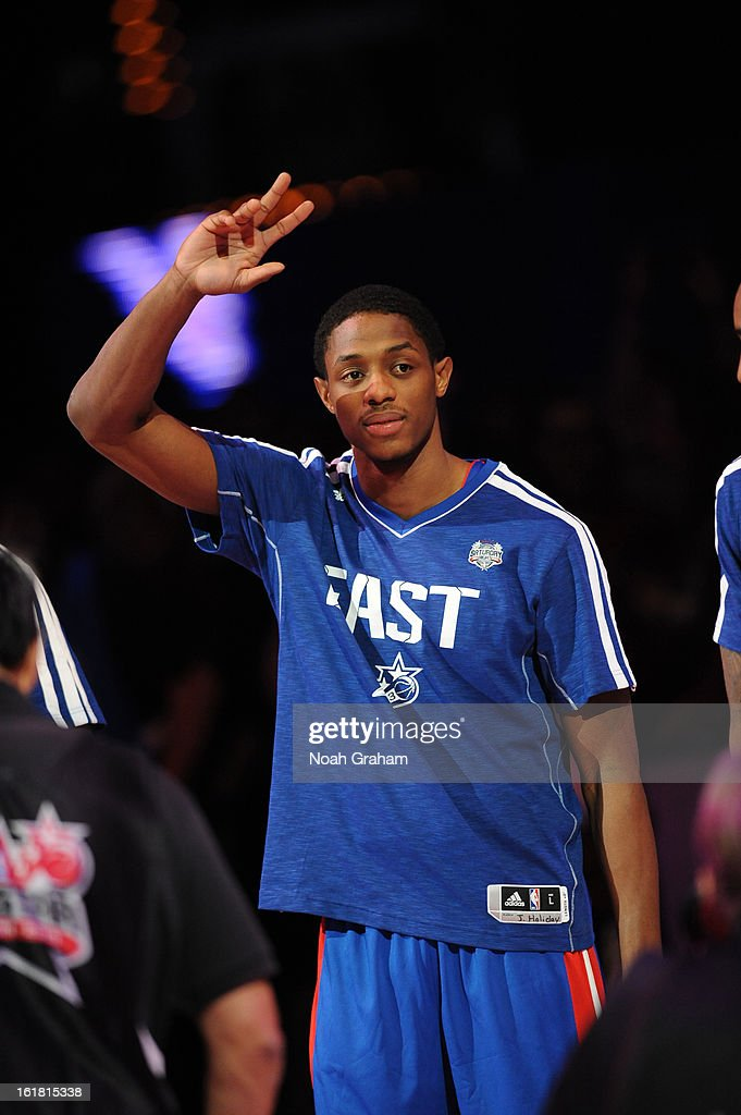 Brandon Knight of the East team is introduced during 2013 Foot Locker Three-Point Contest on State Farm All-Star Saturday Night as part of 2013 NBA All-Star Weekend on February 16, 2013 at Toyota Center in Houston, Texas.