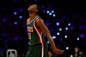 Brandon Knight of the Milwaukee Bucks and the Eastern Conference competes during the Taco Bell Skills Challenge as part of the 2015 NBA Allstar...