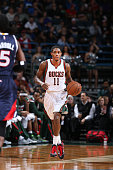 Brandon Knight of the Milwaukee Bucks drives up the court against the Atlanta Hawks during the game on December 27 2014 at the BMO Harris Bradley...