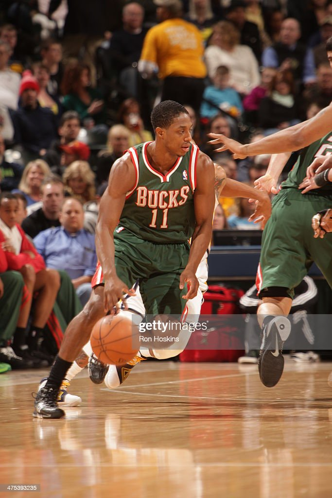 Brandon Knight #11 of the Milwaukee Bucks handles the ball during a game against the Indiana Pacers at Bankers Life Fieldhouse on February 25, 2014 in Indianapolis, Indiana.