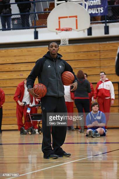 Brandon Knight of the Milwaukee Bucks is introduced during a Special Olympics basketball skills clinic on February 11 2014 at Nicolet High School in...