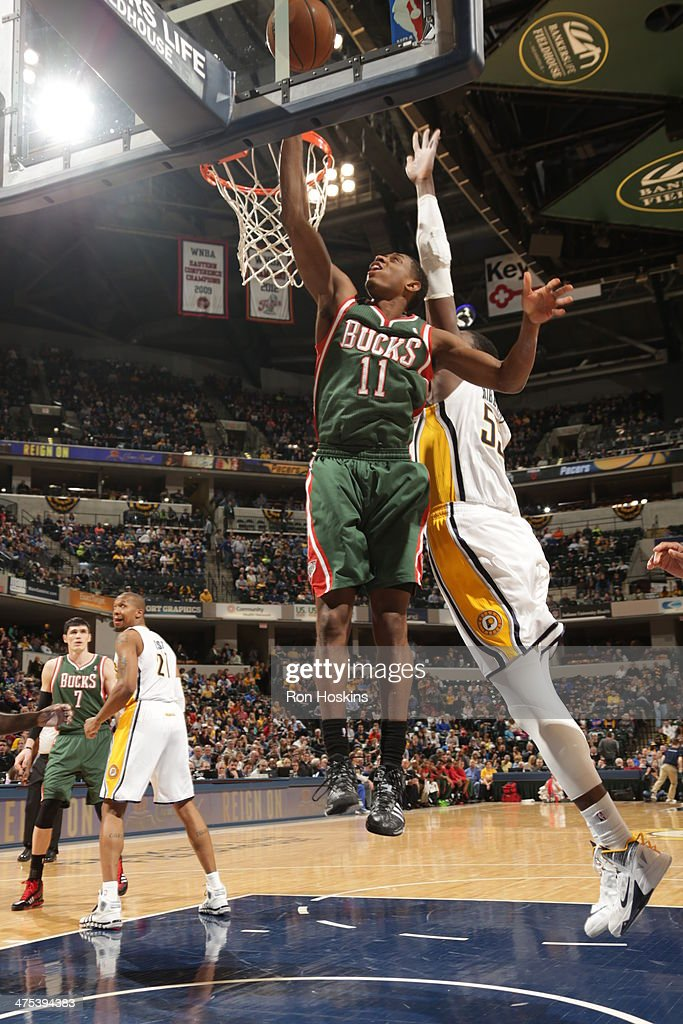 Brandon Knight #11 of the Milwaukee Bucks puts up a shot during a game against the Indiana Pacers at Bankers Life Fieldhouse on February 25, 2014 in Indianapolis, Indiana.