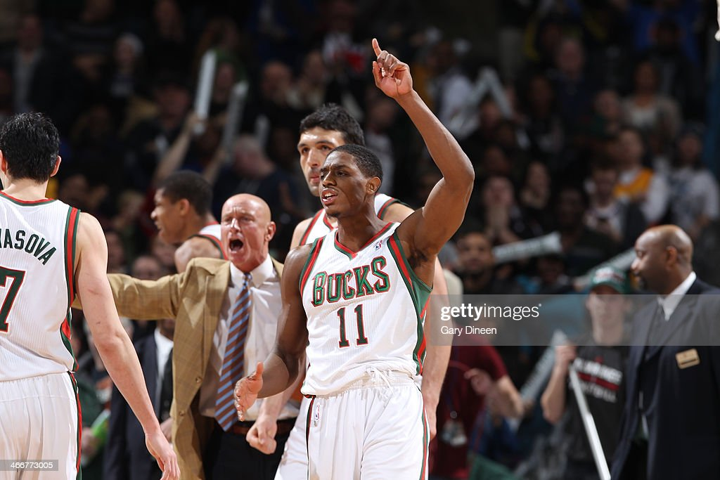 Brandon Knight #11 of the Milwaukee Bucks reacts after making a 3-pointer with 1.5 seconds remaining to put the Bucks up by 3 over the New York Knicks on February 3, 2014 at the BMO Harris Bradley Center in Milwaukee, Wisconsin.