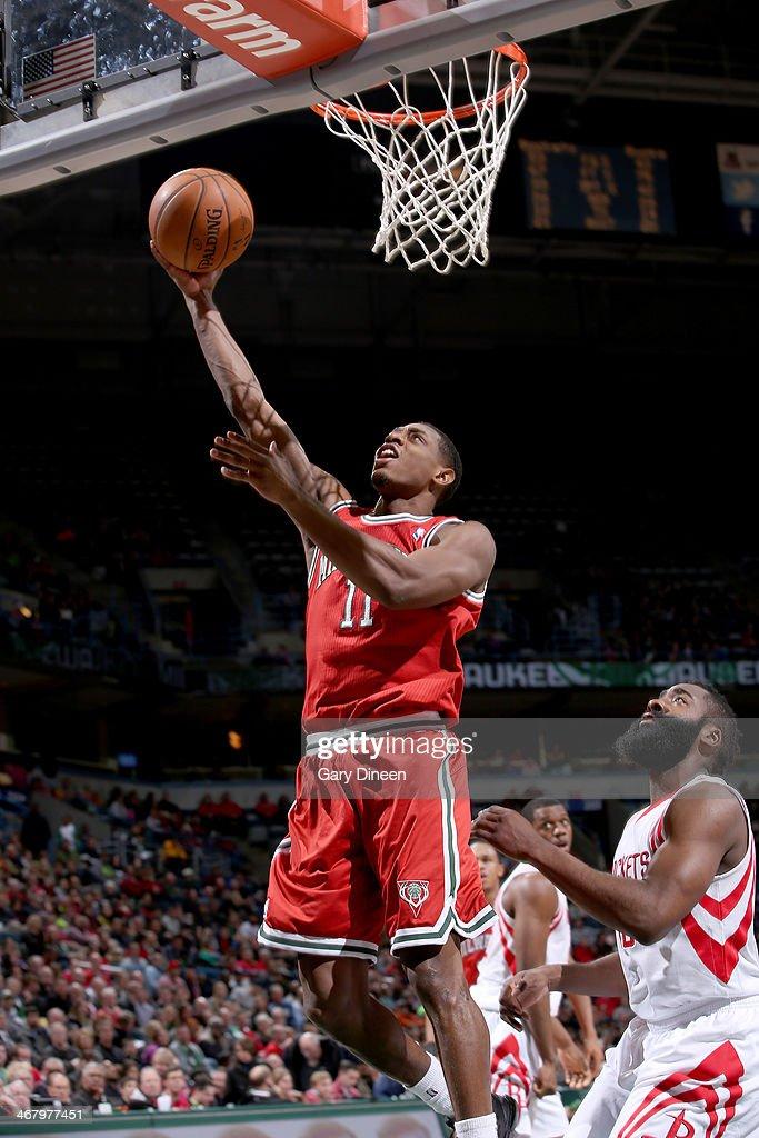 Brandon Knight #11 of the Milwaukee Bucks shoots against the Houston Rockets on February 8, 2014 at the BMO Harris Bradley Center in Milwaukee, Wisconsin.
