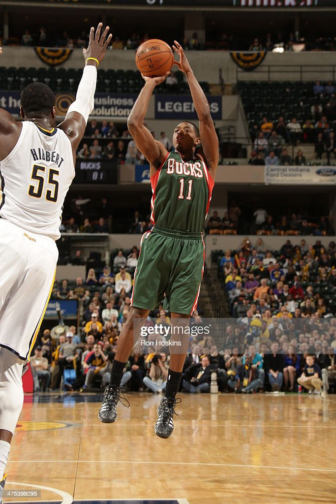 Brandon Knight #11 of the Milwaukee Bucks takes a shot during a game against the Indiana Pacers at Bankers Life Fieldhouse on February 25, 2014 in Indianapolis, Indiana.