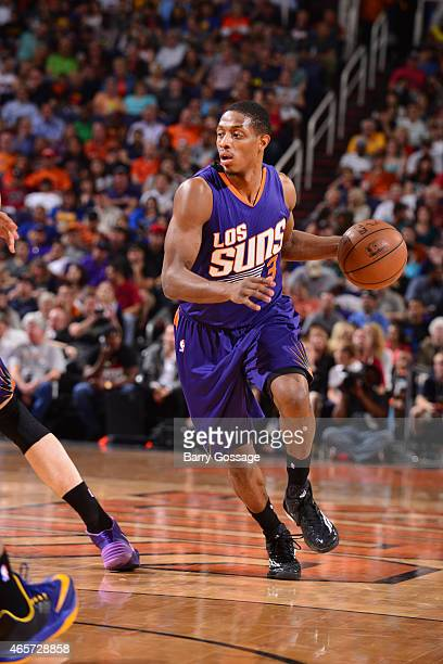 Brandon Knight of the Phoenix Suns brings the ball up court against the Golden State Warriors on March 9 2015 at US Airways Center in Phoenix Arizona...
