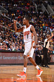 Brandon Knight of the Phoenix Suns celebrates during the game against the Los Angeles Lakers on November 16 2015 at Talking Stick Resort Arena in...