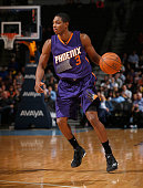 Brandon Knight of the Phoenix Suns controls the ball against the Denver Nuggets at Pepsi Center on February 25 2015 in Denver Colorado The Suns...