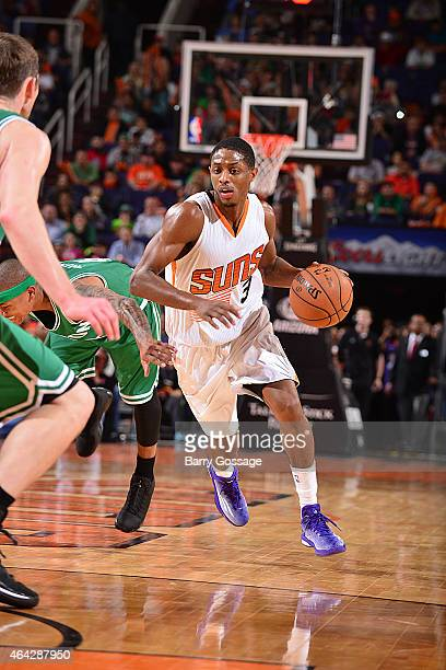 Brandon Knight of the Phoenix Suns drives against the Boston Celtics on February 23 2015 at US Airways Center in Phoenix Arizona NOTE TO USER User...