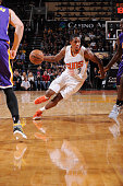 Brandon Knight of the Phoenix Suns drives against the Los Angeles Lakers on November 16 at Talking Stick Resort Arena in Phoenix Arizona NOTE TO USER...