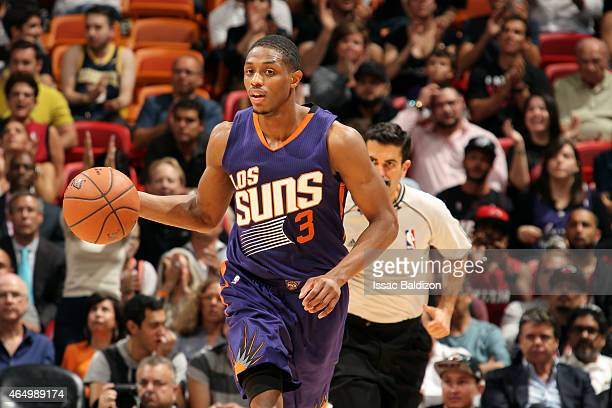Brandon Knight of the Phoenix Suns drives against the Miami Heat on March 2 2015 at American Airlines Arena in Miami Florida NOTE TO USER User...
