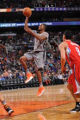 Brandon Knight of the Phoenix Suns drives for a shot against the Los Angeles Clippers on November 12 at Talking Stick Resort Arena in Phoenix Arizona...