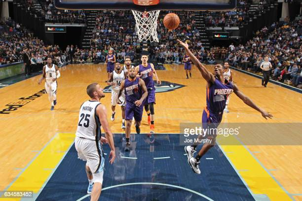 Brandon Knight of the Phoenix Suns drives to the basket and shoots the ball against the Memphis Grizzlies on February 8 2017 at FedExForum in Memphis...