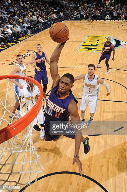Brandon Knight of the Phoenix Suns dunks the ball against the Denver Nuggets on November 16 2016 at the Pepsi Center in Denver Colorado NOTE TO USER...