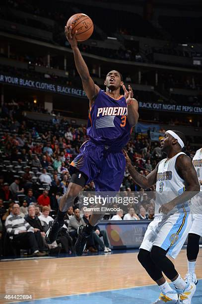 Brandon Knight of the Phoenix Suns goes to the basket against the Denver Nuggets on February 25 2015 at the Pepsi Center in Denver Colorado NOTE TO...