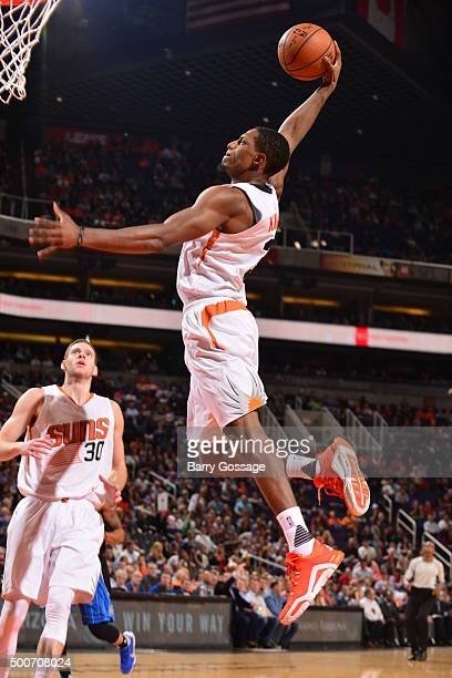 Brandon Knight of the Phoenix Suns goes to the basket against the Orlando Magic on December 9 2015 at Talking Stick Resort Arena in Phoenix Arizona...