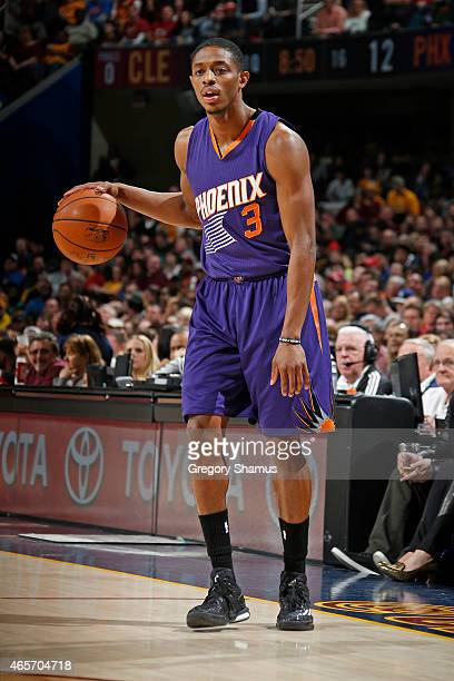 Brandon Knight of the Phoenix Suns handles the ball against the Cleveland Cavaliers at The Quicken Loans Arena on March 7 2015 in Cleveland Ohio NOTE...