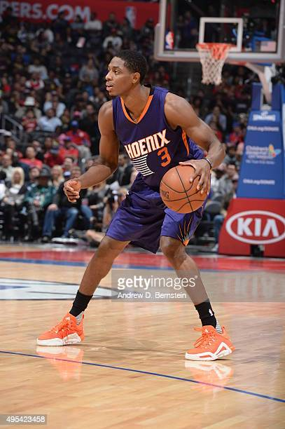 Brandon Knight of the Phoenix Suns handles the ball against the Los Angeles Clippers on November 2 2015 at STAPLES Center in Los Angeles California...