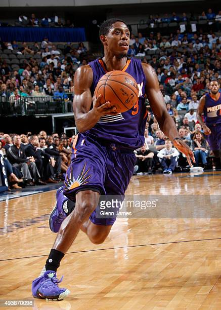 Brandon Knight of the Phoenix Suns handles the ball against the Dallas Mavericks on October 21 2015 at the American Airlines Center in Dallas Texas...