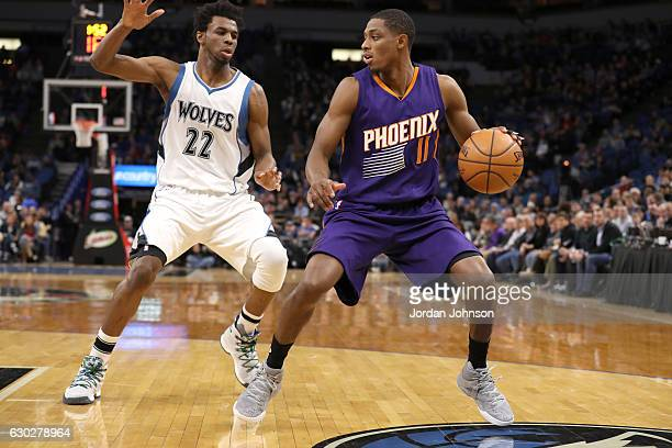 Brandon Knight of the Phoenix Suns handles the ball against the Minnesota Timberwolves on December 19 2016 at Target Center in Minneapolis Minnesota...