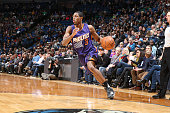 Brandon Knight of the Phoenix Suns handles the ball during the game against the Minnesota Timberwolves on January 17 2016 at Target Center in...